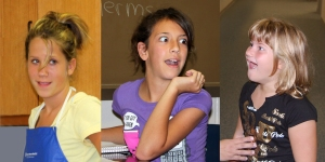 "The Filmmakers asked the schools to make an announcement over the school intercom that ""Pixie"" had been selected to screen at the Arpa International Film Festival in Hollywood. Photos of the girls' reactions in their classrooms caught on camera! (From Left to Right: Madalyn Bowlby, Cecilianna Arriola, Miranda Leuschen)"